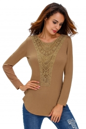 Khaki Crochet Front Long Sleeve Top