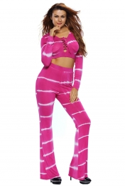 Rosy Tie Dye Print Sexy Two Piece Pant Set