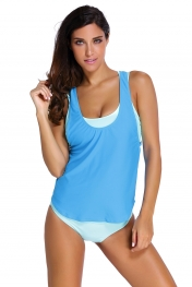 Aqua Sports Bra Tankini Swimsuit with Blue Vest