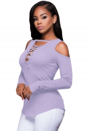 Purple Long Sleeve Cut-out Shoulder Ribbed Top