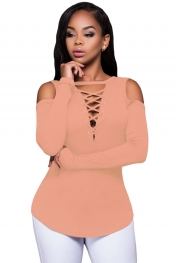 Pink Long Sleeve Cut-out Shoulder Ribbed Top