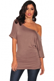 Brown Half Sleeves Ruched Tunic Top
