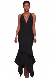 Black Cross Back Asymmetric Hemline Maxi Dress