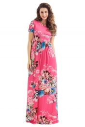 Pocket Design Short Sleeve Watermelon Red Floral Maxi Dress