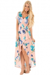 Pink Grounding Petals Print Boho Maxi Dress