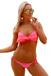 Bright Coral Striped Detail Ruffle Top 2pcs Bathing Suit
