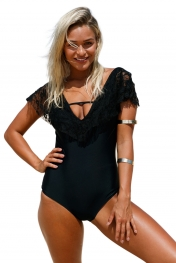 Black Lace Ruffle Cap Sleeve One Piece Swimsuit