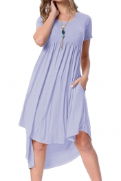 Mauve Short Sleeve High Low Pleated Casual Swing Dress