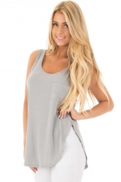 Gray Summer Side Slits Tank Top with Pocket