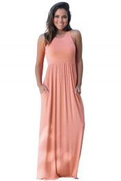 Pink Racerback Maxi Dress with Pockets