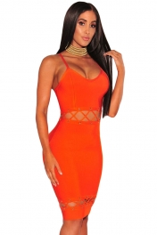 Orange Bandage Lace Up Sleeveless Dress