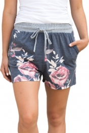 Flush Floral Print Charcoal Casual Shorts