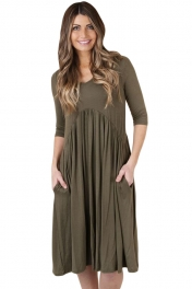 Army Green 3/4 Sleeve Draped Swing Dress