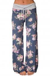 Grey Floral Terry Wide Leg Pants