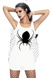 White Jersey Dress Spiderweb Cosplay Costume