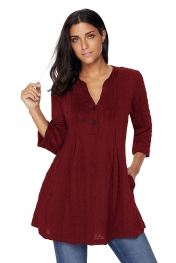 Burgundy Cable Knit Button Neck Swingy Tunic