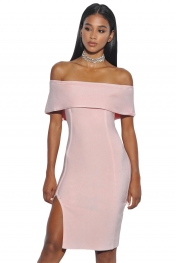 Off Shoulder Overlay Pink Bandage Dress