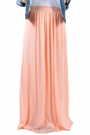 Peachy Pink Elastic Waist Pleated Gauze Maxi Skirt with Lining