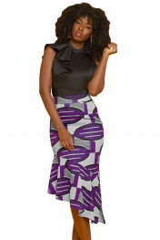 Purple Ovals African Print Stretch Pencil Midi Skirt