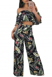 Tropical Print Ruffle Crop Top Wide Leg Pant Set