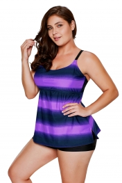 Purple Strappy Hollow-out Back Plus Size Tankini