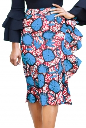 Blue Red African Print Ruffle Trim Bodycon Skirt