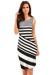 Black White Striped Sleeveless Midi Shift Dress