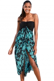 Black Turquoise Printed Beach Dress