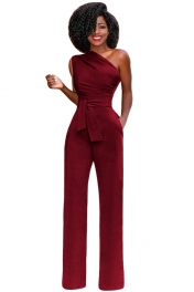 Scarlet Tie Waist Sleeveless One Shoulder Jumpsuit