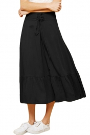 Lace-up High Waist Black Ruffle Hem A-line Skirt