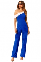 Navy White Colorblock One-shoulder Jumpsuit