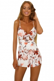 Red Front Tie Floral Playsuit