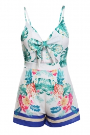 Green Front Tie Floral Playsuit
