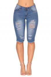 Light Blue Wash Denim Destroyed Bermuda Shorts