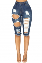 Deep Blue Wash Denim Destroyed Bermuda Shorts