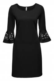 Black 3/4 Hollow-out Bell Sleeve Sheath Mini Dress