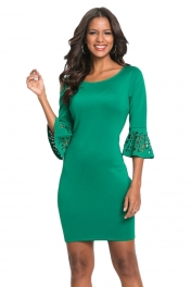 Green 3/4 Hollow-out Bell Sleeve Sheath Mini Dress