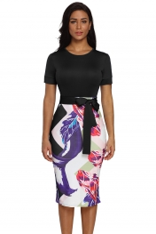 Black Bowknot Short Sleeve Printed Sheath Dress