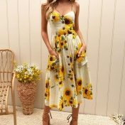 Sunflower pineapple pattern printed strap buttonless back sexy dress Yellow