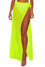 Neon Yellow Mesh Slit Cover Up Belted Maxi Skirt