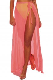 Neon Pink Mesh Slit Cover Up Belted Maxi Skirt
