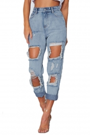 Light Blue Retro Wash Destroyed Boyfriend Jeans