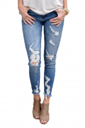Faded Medium Blue Wash Distressed Jeans