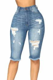 Medium Blue Wash Denim Destroyed Bermuda Shorts