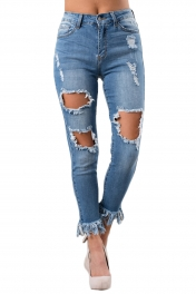 Blue Whisker Distressed Skinny Denim Pants