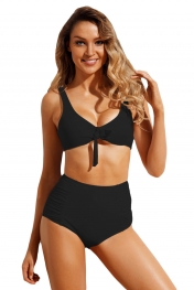 Black Tie Front Bikini Ruched High Waist Swimsuit