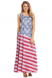 American Flag Print Sleeveless Maxi Dress