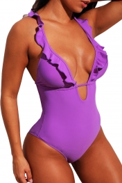 Purple Plunge V Neck Ruffled Detail Maillot Swimwear