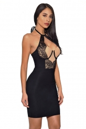 Black Lace Detail Halter Party Bandage Dress