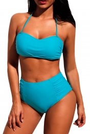 Blue Subtle Ruched Halter Bikini High Waist Swimsuit
